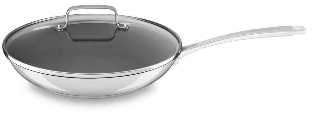 "Stainless Steel 12"" Nonstick Skillet with lid"